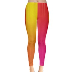 Rainbow Stripes Vertical Lines Colorful Blue Pink Orange Green Leggings  by Mariart