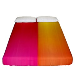 Rainbow Stripes Vertical Lines Colorful Blue Pink Orange Green Fitted Sheet (queen Size) by Mariart