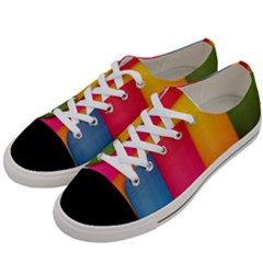 Rainbow Stripes Vertical Lines Colorful Blue Pink Orange Green Women s Low Top Canvas Sneakers by Mariart