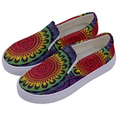 Rainbow Mandala Circle Kids  Canvas Slip Ons by Mariart