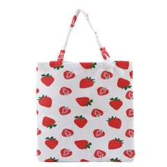 Red Fruit Strawberry Pattern Grocery Tote Bag by Mariart