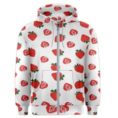 Red Fruit Strawberry Pattern Men s Zipper Hoodie by Mariart