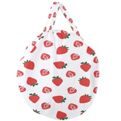 Red Fruit Strawberry Pattern Giant Round Zipper Tote by Mariart
