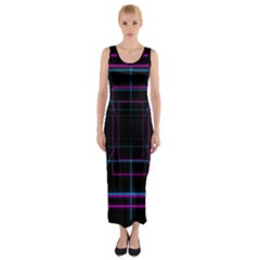 Retro Neon Grid Squares And Circle Pop Loop Motion Background Plaid Purple Fitted Maxi Dress by Mariart