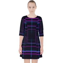 Retro Neon Grid Squares And Circle Pop Loop Motion Background Plaid Purple Pocket Dress