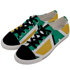 Triangles Texture Shape Art Green Yellow Men s Low Top Canvas Sneakers by Mariart