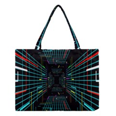 Seamless 3d Animation Digital Futuristic Tunnel Path Color Changing Geometric Electrical Line Zoomin Medium Tote Bag by Mariart
