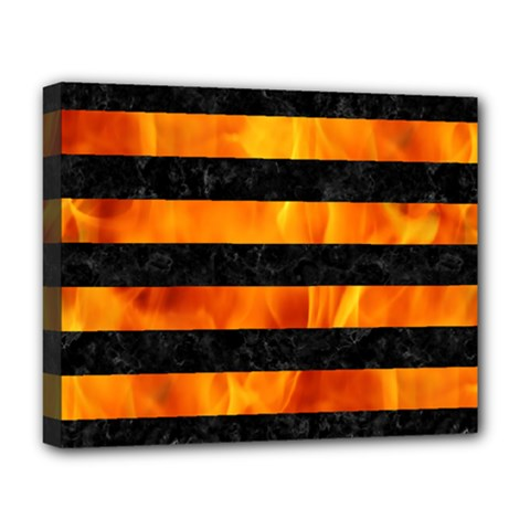 Stripes2 Black Marble & Fire Deluxe Canvas 20  X 16   by trendistuff