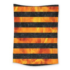 Stripes2 Black Marble & Fire Medium Tapestry by trendistuff