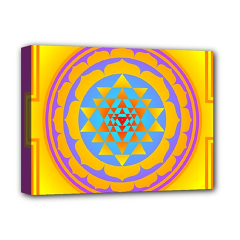 Triangle Orange Pink Deluxe Canvas 16  X 12   by Mariart