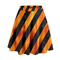 Stripes3 Black Marble & Fire High Waist Skirt by trendistuff