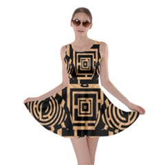 Wooden Cat Face Line Arrow Mask Plaid Skater Dress by Mariart