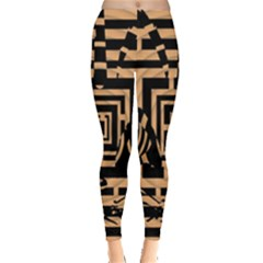 Wooden Cat Face Line Arrow Mask Plaid Leggings  by Mariart
