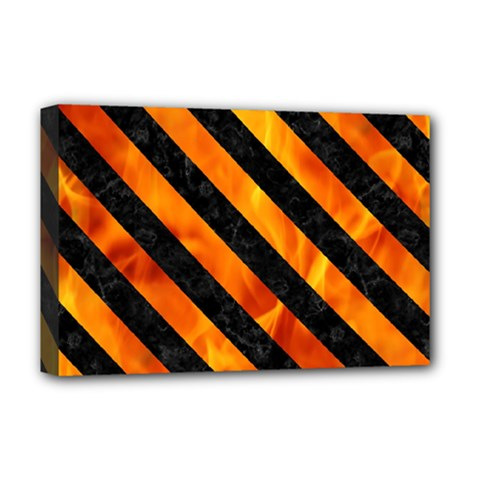 Stripes3 Black Marble & Fire (r) Deluxe Canvas 18  X 12   by trendistuff