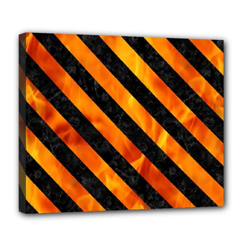 Stripes3 Black Marble & Fire (r) Deluxe Canvas 24  X 20   by trendistuff
