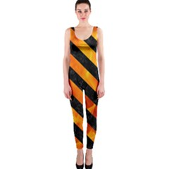 Stripes3 Black Marble & Fire (r) Onepiece Catsuit by trendistuff