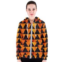 Triangle2 Black Marble & Fire Women s Zipper Hoodie by trendistuff