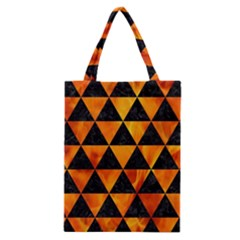 Triangle3 Black Marble & Fire Classic Tote Bag by trendistuff