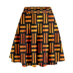 Woven1 Black Marble & Fire High Waist Skirt by trendistuff