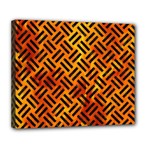 Woven2 Black Marble & Fire (r) Deluxe Canvas 24  X 20   by trendistuff