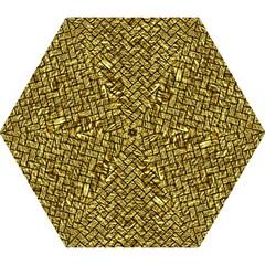 Brick2 Black Marble & Gold Foil (r) Mini Folding Umbrellas by trendistuff