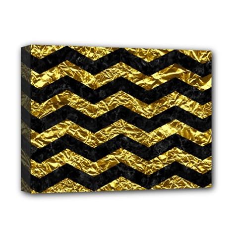 Chevron3 Black Marble & Gold Foil Deluxe Canvas 16  X 12   by trendistuff