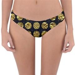 Circles1 Black Marble & Gold Foil Reversible Hipster Bikini Bottoms by trendistuff