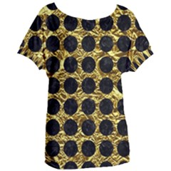 Circles1 Black Marble & Gold Foil (r) Women s Oversized Tee