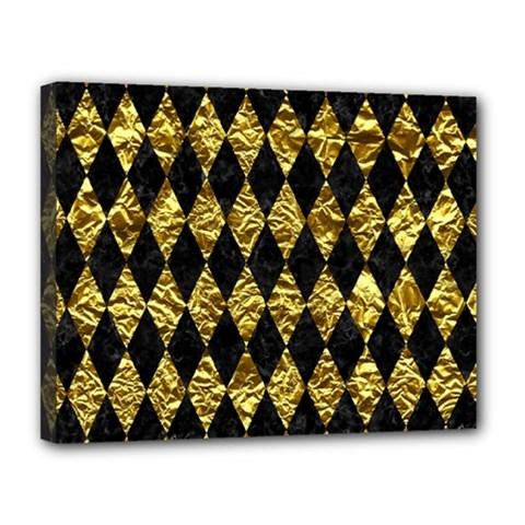 Diamond1 Black Marble & Gold Foil Canvas 14  X 11  by trendistuff