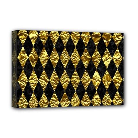 Diamond1 Black Marble & Gold Foil Deluxe Canvas 18  X 12   by trendistuff