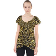 Damask1 Black Marble & Gold Foil (r) Lace Front Dolly Top