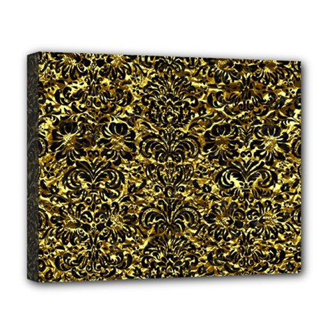 Damask2 Black Marble & Gold Foil (r) Deluxe Canvas 20  X 16   by trendistuff
