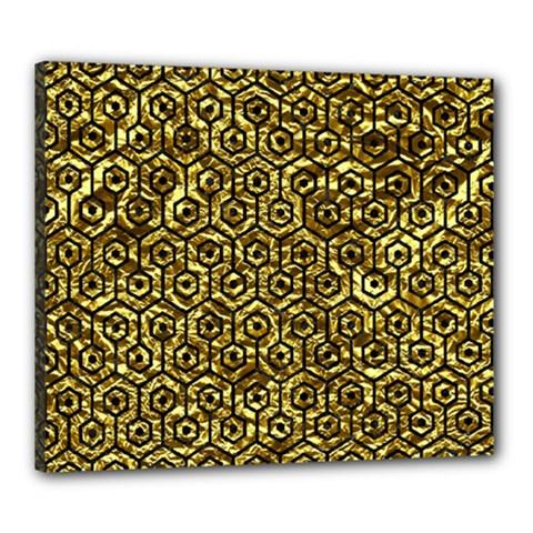 Hexagon1 Black Marble & Gold Foil (r) Canvas 24  X 20  by trendistuff