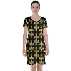 Puzzle1 Black Marble & Gold Foil Short Sleeve Nightdress
