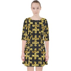Puzzle1 Black Marble & Gold Foil Pocket Dress
