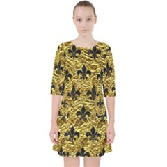 Royal1 Black Marble & Gold Foil Pocket Dress