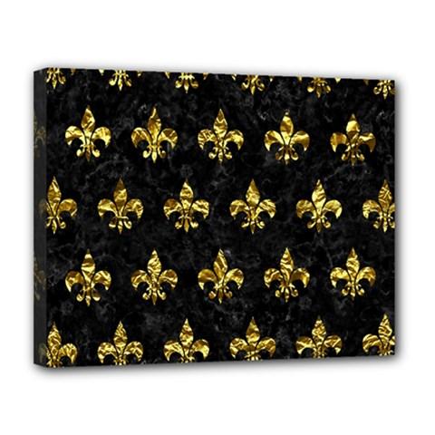 Royal1 Black Marble & Gold Foil (r) Canvas 14  X 11  by trendistuff