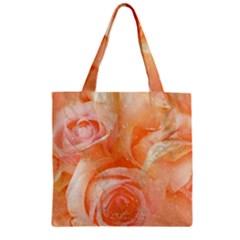 Flower Power, Wonderful Roses, Vintage Design Zipper Grocery Tote Bag by FantasyWorld7
