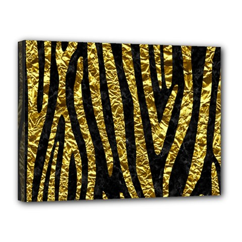 Skin4 Black Marble & Gold Foil (r) Canvas 16  X 12  by trendistuff