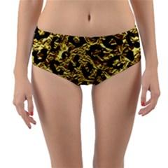Skin5 Black Marble & Gold Foil Reversible Mid Waist Bikini Bottoms