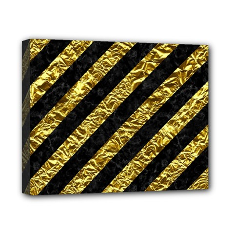Stripes3 Black Marble & Gold Foil Canvas 10  X 8  by trendistuff