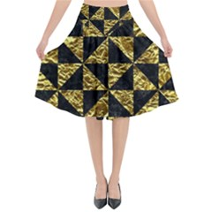 Triangle1 Black Marble & Gold Foil Flared Midi Skirt by trendistuff