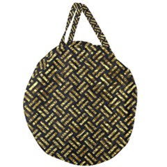 Woven2 Black Marble & Gold Foil Giant Round Zipper Tote by trendistuff