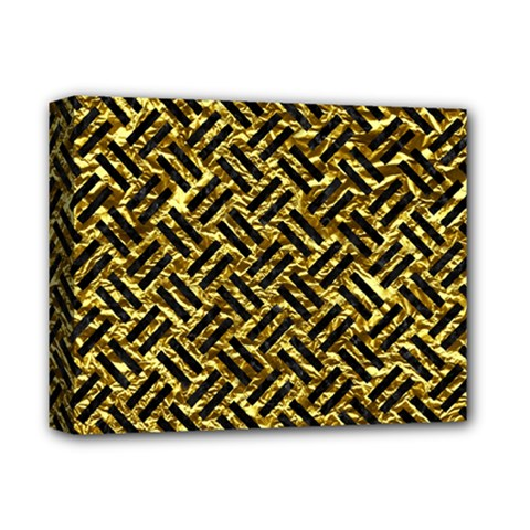 Woven2 Black Marble & Gold Foil (r) Deluxe Canvas 14  X 11  by trendistuff