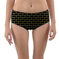 Brick1 Black Marble & Gold Glitter Reversible Mid Waist Bikini Bottoms
