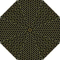 Brick2 Black Marble & Gold Glitter Hook Handle Umbrellas (small) by trendistuff
