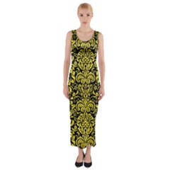 Damask2 Black Marble & Gold Glitter Fitted Maxi Dress by trendistuff