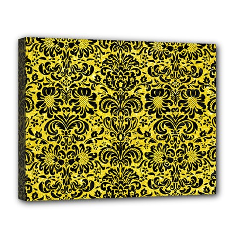 Damask2 Black Marble & Gold Glitter (r) Canvas 14  X 11  by trendistuff