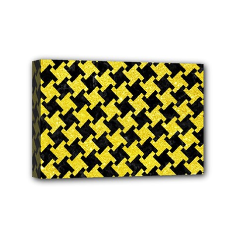 Houndstooth2 Black Marble & Gold Glitter Mini Canvas 6  X 4