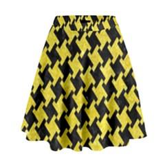 Houndstooth2 Black Marble & Gold Glitter High Waist Skirt by trendistuff